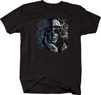 Tshirt -dead Girl Sugar Skull Half Skeleton Veil Roses Thorns