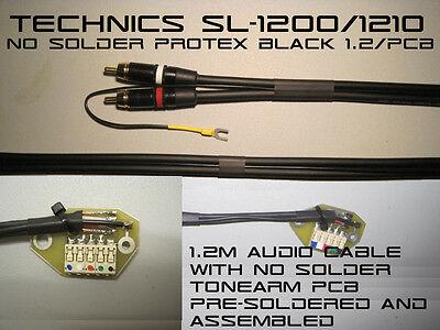 Technics SL-1200/1210 NO SOLDER Audio RCA Cable & Tonearm PCB ProteX Black 1.2m