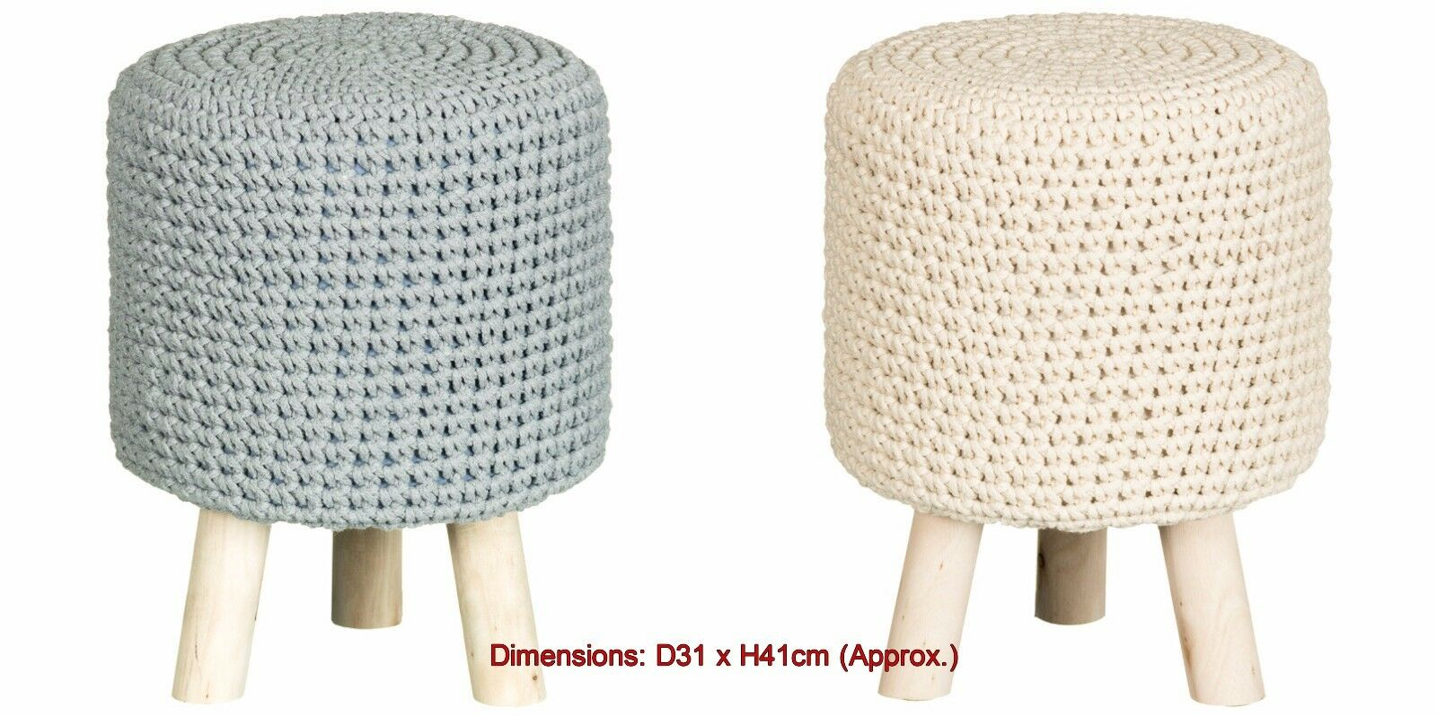 Vintage Stylish and practical Knitted Footstool home decor - grau & Cream Colour