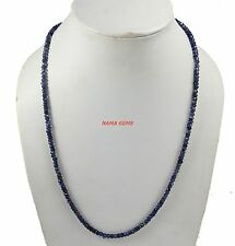 """HANDMADE IOLITE GEMSTONE 4-5 MM RONDELLE FACETED BEADS 18"""" STRAND LONG NECKLACE"""