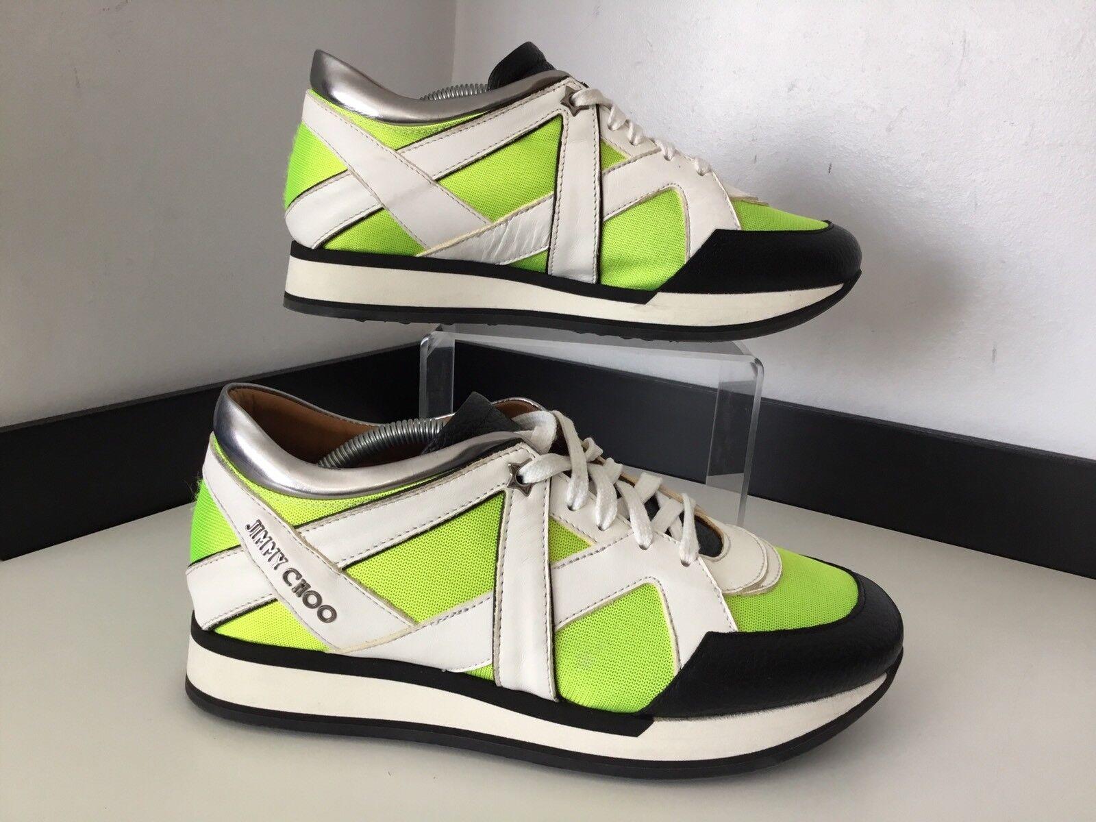 Jimmy Choo Zapatillas Corrojoores Talla 39.5 Reino Unido 6.5 en Negro Amarillo Zapatos en 6.5 muy buena condición d11692