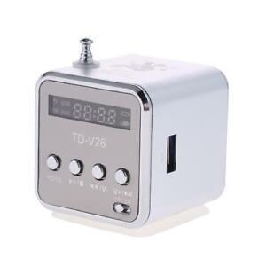 TD-V26 Mini Radio FM Numérique Haut-parleurs avec récepteur Support TF Card (Argent)