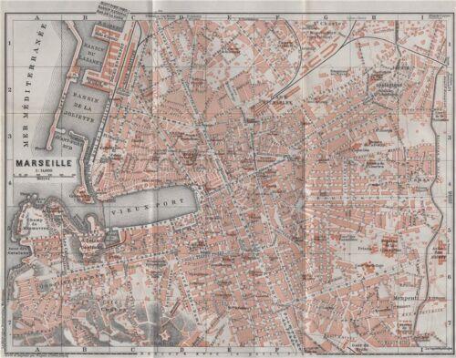 MARSEILLES MARSEILLE town city plan de la ville Bouches-du-Rhône 1907 old map