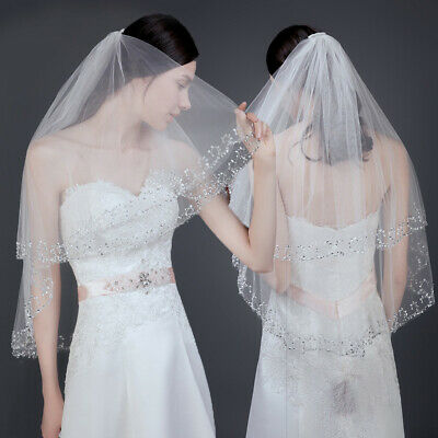 Beautiful New White//Ivory 2T Beaded Edge Bridal wedding veil with comb