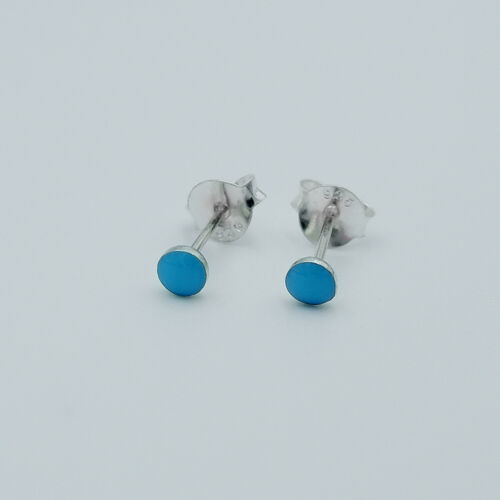 3mm Sterling Silver Tiny Turquoise Minimal Cartilage Helix tragus stud earrings