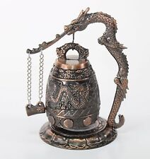 """5"""" Brass Chinese Feng Shui Dragon Standing Bell Fortune Good Luck Home Decor"""