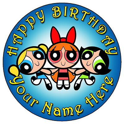 Powerpuff Girls Personalised Edible Party Cake Decoration Topper Round Image