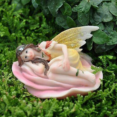 Miniature Figurine FAIRY GARDEN ~ Pink Pastel Fairy Laying in Yellow Flower
