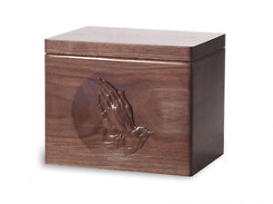 Wood-Cremation-Urn-Standard-model-with-Black-Walnut-and-Praying-Hands-Image