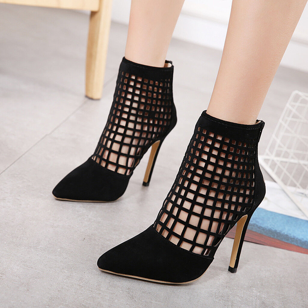 Womens Slim High Heel Pointed Toe Hollow Out Zip Ankle Boots Fashion Black shoes