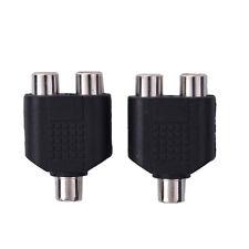 2pcs RCA Splitter 1 Female to 2 Female Y Adapter AV Audio Video Converter NEW