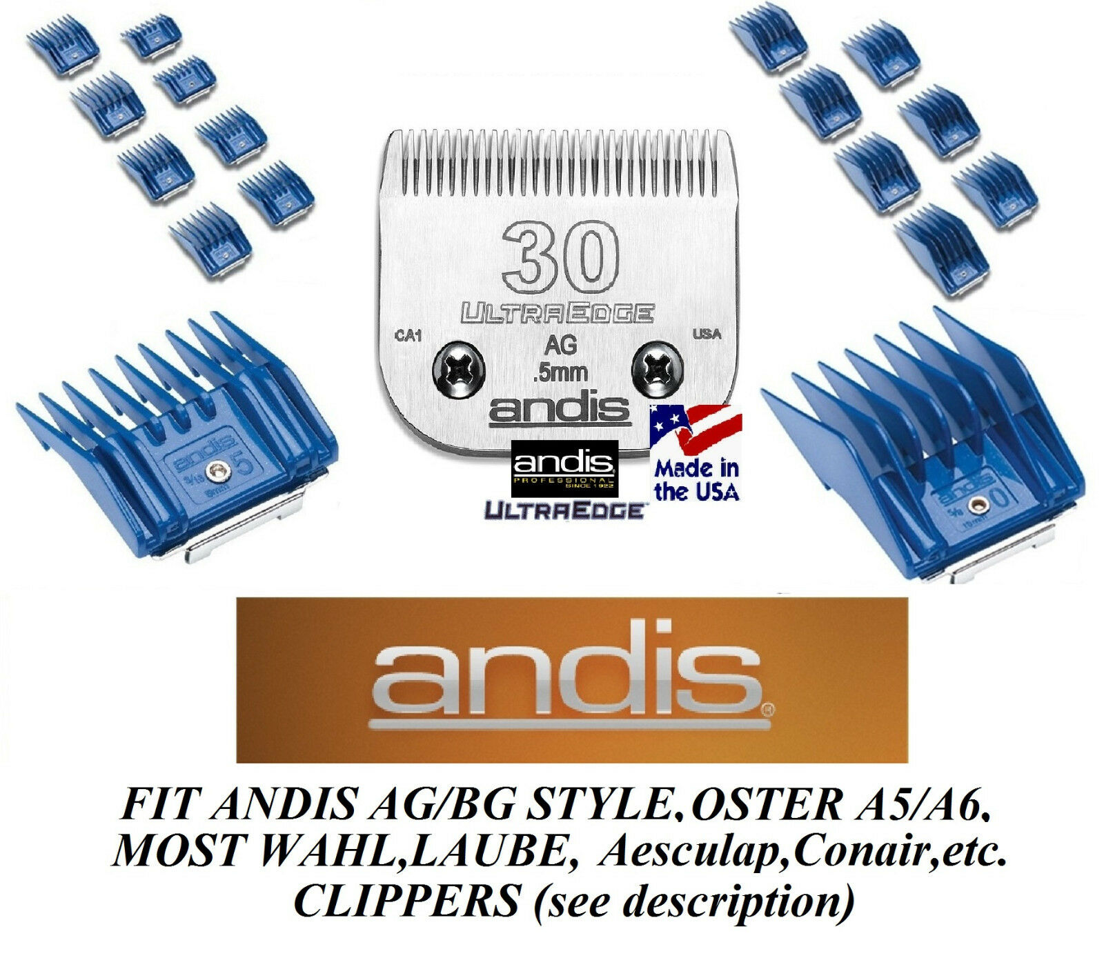 ANDIS 17pc SNAP ON UNIVERSAL COMB SET&UltraEdge 30 BLADEFit Many Oster Clipper
