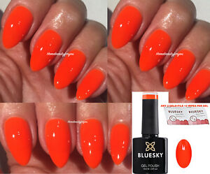 BLUESKY-GEL-POLISH-NEON-ORANGE-HOT-CHILLI-A111-NAIL-UV-LED-SOAK-OFF-ANY-2-FILE