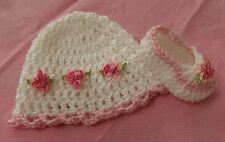 Handmade Crochet Baby Girl Booties,Hat Pink & White Newborn 3 Months