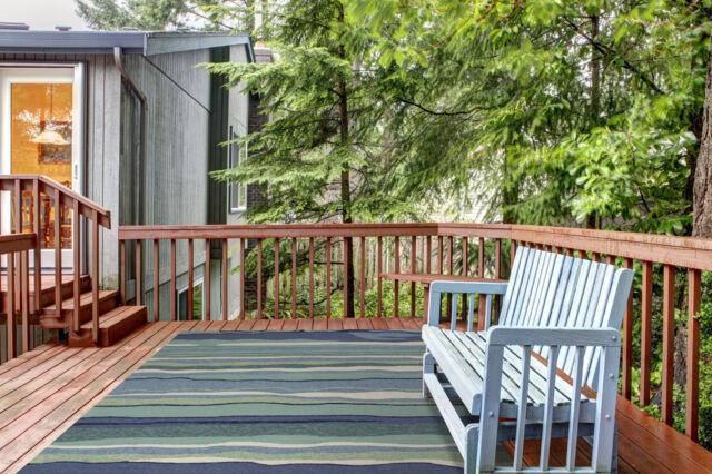 "5x8 (5' x 7'6"") Tropical Coastal Beach Stripe Blue Green Indoor Outdoor Area Rug"