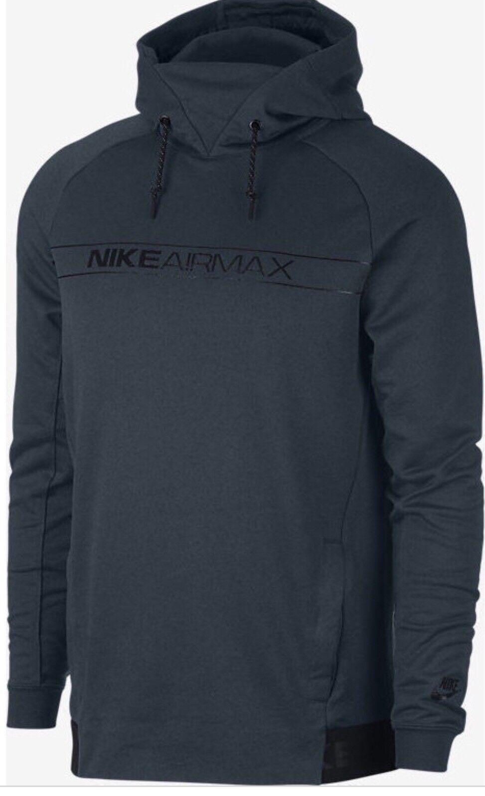 Nike 863738 454 Men's Air Max Sportswear Pullover Hoodie Blue Black Size Large