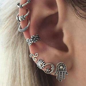 Bohemia-Women-Retro-Silver-Ear-Clip-Stud-Dangle-Earrings-Fashion-Jewelry-Set