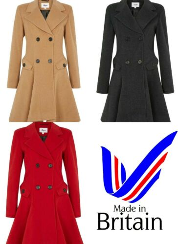 Women/'s Wool Cashmere Winter Warm Coat Double Breasted Flare Fit Fashion Jacket