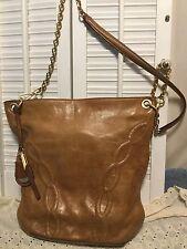 TAHARI Vintage Whiskey Brown Leather Cross Body Handbag Gold Tone Chain Hardware