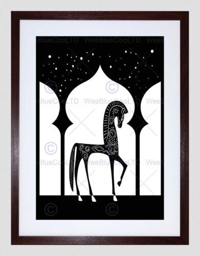 ILLUSTRATION DECORATIVE ARABIAN HORSE BLACK WHITE FRAMED ART PRINT B12X14008