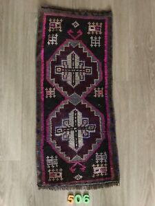 Honest Turkish Wool Small Area Rug Vintage Hand Knotted Free Shipping! 3'x 1'4""