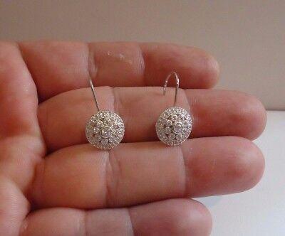 Round Cluster Hook Earrings W/lab Diamonds/ 925 Sterling Silver Fine Earrings 24mm By 12mm