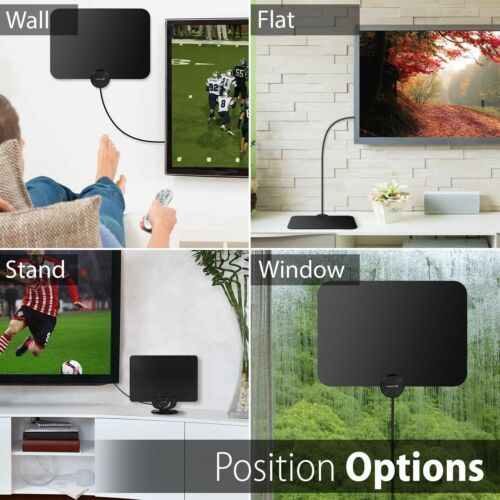 300 Mile Range HDTV Clear View Antenna Digital Flat 1080P Amplified Booster 13ft