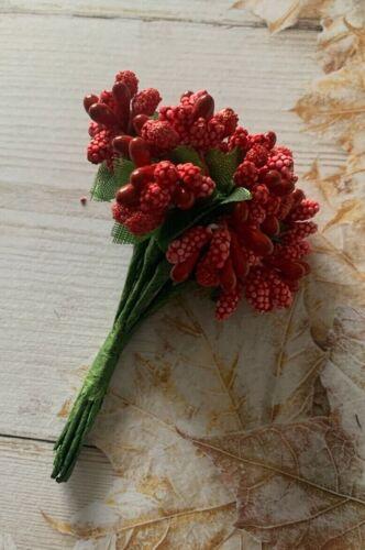 Rouge, Noël Tiges Berry Leaf-Art Floral gâteau Craft Décoration Or Argent