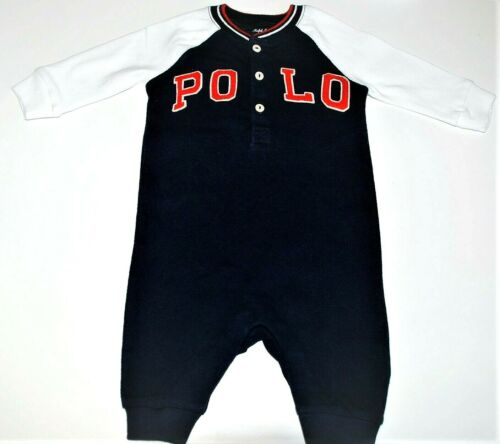 9mth Ralph Lauren Baby Boy Navy Blue Henley Coverall Baby Grow 6mth 3mth