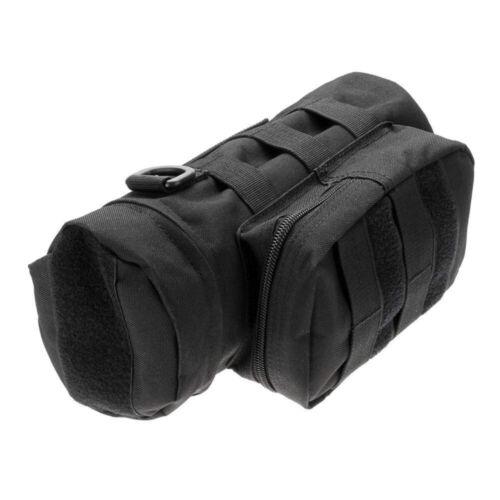 Unisex Tactical Water Bottle Holder Waterproof Nylon Utility Round Kettle Bag BK
