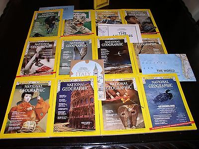 12 NATIONAL GEOGRAPHIC MAGAZINE COMPLETE SET 1970 ~ SLIPCASED & ALL SUPPLEMENTS