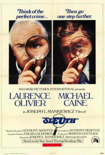 SLEUTH Movie POSTER 27x40 Laurence Olivier Michael Caine John Matthews Alec