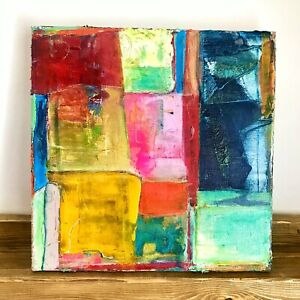 """Original Abstract Acrylic Painting Contemporary 12 x 12"""" Cubism Fine Art Signed"""