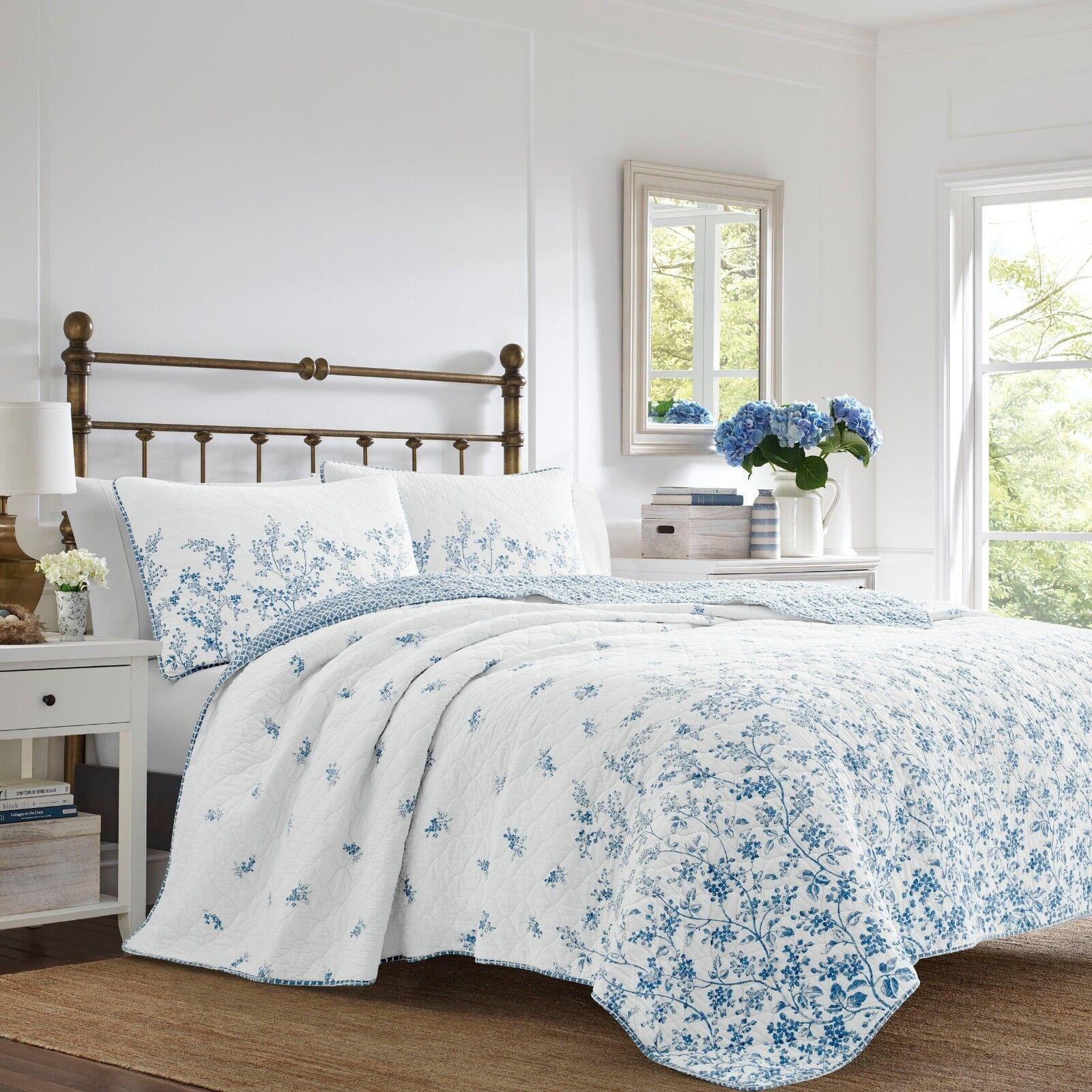 Elegant Classic 100% Cotton Top blu Floral 3 pcs King Queen Quilt Coverlet Set