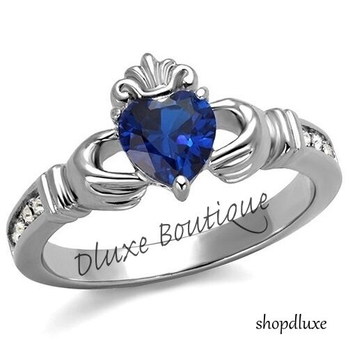 Women's Blue Montana CZ Stainless Steel Irish Claddagh Promise Friendship Ring