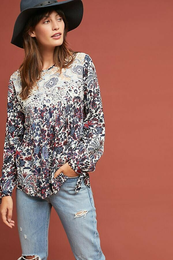 New Anthropologie Madison Floral Blouse by Ranna Gill  SMALL bluee Motif