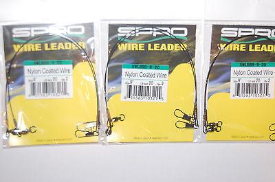 "spro premium nylon coated wire leader pike pickerel 12/"" 20lb ball bearing swivel"