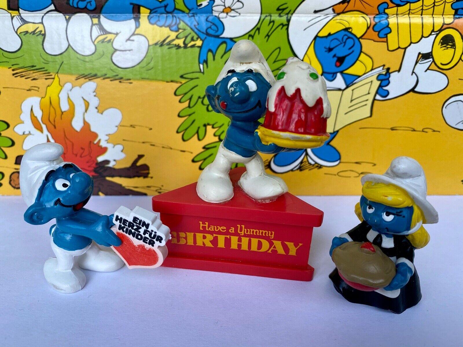 Vintage Smurfs Thanksgiving Pie Birthday Cake Heart For Children Schleich Peyo Ebay