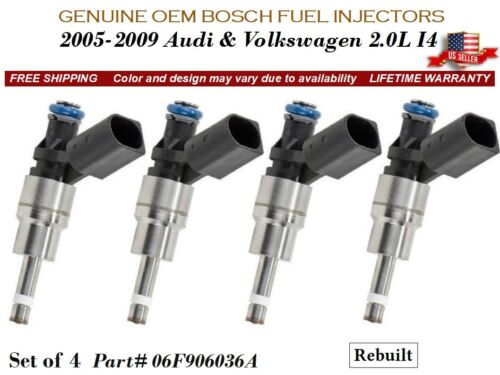 4 Fuel Injectors OEM BOSCH for 2005-2009 Audi /& Volkswagen 2.0L #06F906036A
