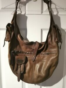 Womens-Diesel-Leather-Handbag-Shoulder-Bag-Dark-Brown