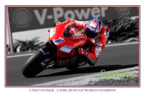 Casey Stoner Moto GP World Champion large signed 12x18 inch photograph poster