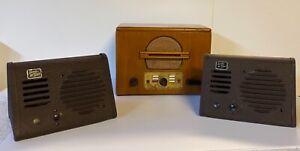 Vintage-1940-s-Intercom-System-With-Base-amp-2-Speaker-Receivers-Full-Set-Qty-3