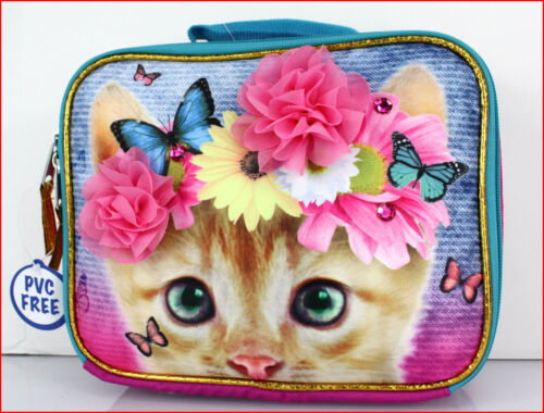 Yellow Tabby KITTY CAT Insulated LUNCH Box Bag Pink Flowers /& Jewels
