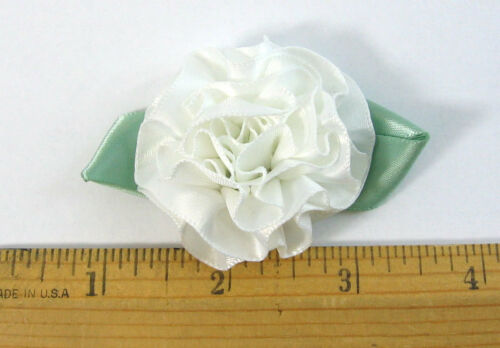 "12 pc.2/"" Large White Satin Ribbon Carnation Flower Hair bows or Crafts Baby"