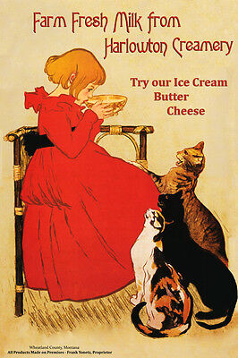 Creamery Food Cat Kitchen Cheese Harlowton Montana Vintage Poster Repro FREE SH