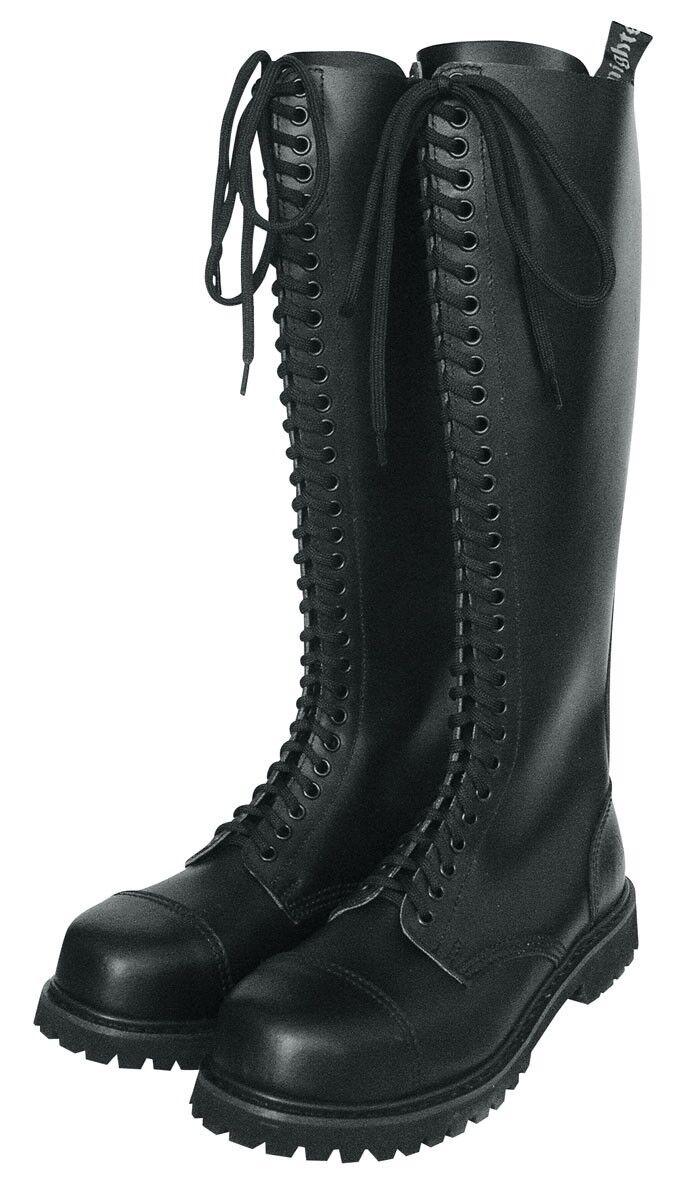 KB Ranger Stiefel 30-Loch Schwarz 37-47 Steel Toe Stiefel Gothicschuhe Stahlkappen