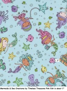 Timeless Treasures ~ Sea Horse Seahorses Reef ~ 100/% Cotton Quilt Sew Fabric BTY