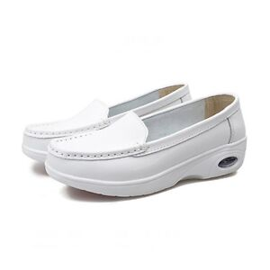 d00fc420795 Image is loading Womens-Nurse-Shoes-White-Slip-Ons-Comfort-Loafers-