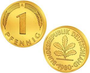 1-Pfennig-Glueckspfennig-Goldmuenze-Geburtstag-Geschenk-DM-Mark