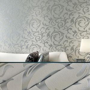 Details About Damask Wallpaper Floral Pattern 3d Flocking Embossed Roll Lounge Bedroom Silver